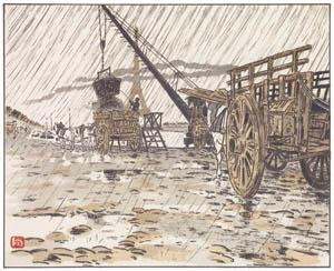 アンリ・リヴィエール – パッシー河岸より、雨 (エッフェル塔三十六景より)のサムネイル画像