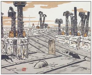 アンリ・リヴィエール – 屋根の上 (エッフェル塔三十六景より)のサムネイル画像