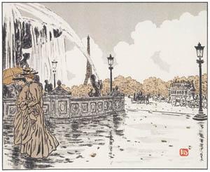 アンリ・リヴィエール – コンコルド広場より (エッフェル塔三十六景より)のサムネイル画像