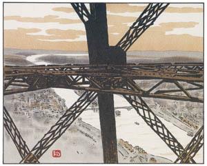 アンリ・リヴィエール – エッフェル塔の中 (エッフェル塔三十六景より)のサムネイル画像