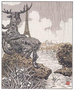 アンリ・リヴィエール – フレミエの鹿の陰から(トロカデロ) (エッフェル塔三十六景より)のサムネイル画像