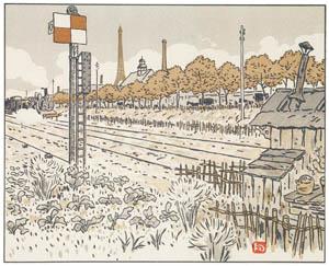 アンリ・リヴィエール – ジャヴェル河岸より(転轍手の小屋) (エッフェル塔三十六景より)のサムネイル画像