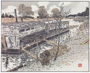 アンリ・リヴィエール – バ・ムードンより、古い共同洗濯場 (エッフェル塔三十六景より)のサムネイル画像