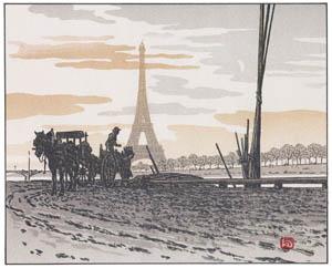アンリ・リヴィエール – パッシー河岸より、石炭商人 (エッフェル塔三十六景より)のサムネイル画像
