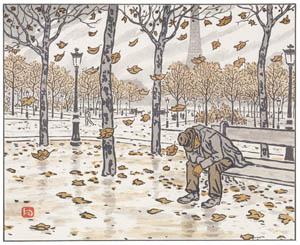 アンリ・リヴィエール – トロカデロ公園より、秋 (エッフェル塔三十六景より)のサムネイル画像