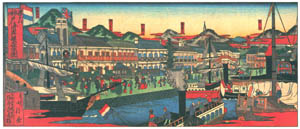 thumbnail Hasegawa Sadanobu (the second) – BUSTLING BUND OF KOBE FOREIGN SETTLEMENT [from Scenes of Old Kobe: Reproduced from Woodblock Prints]