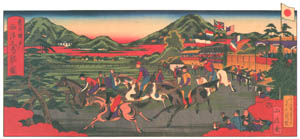 thumbnail Hasegawa Sadanobu (the second) – FOREIGNERS' HORSE RACING IN KOBE [from Scenes of Old Kobe: Reproduced from Woodblock Prints]