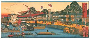 thumbnail Hasegawa Sadanobu (the second) – THRIVING CITY AND PORT OF KOBE [from Scenes of Old Kobe: Reproduced from Woodblock Prints]