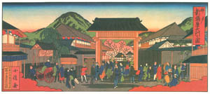 thumbnail Hasegawa Sadanobu (the second) – THE GATE OF NEW FUKUWARA LICENSED QUARTERS [from Scenes of Old Kobe: Reproduced from Woodblock Prints]