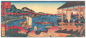 thumbnail Hasegawa Sadanobu (the second) – THE WATERFRONT OF KOBE AND THE THIRD FLOOR OF MANNEN-RO IN NEW FUKUWARA [from Scenes of Old Kobe: Reproduced from Woodblock Prints]