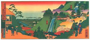 thumbnail Hasegawa Sadanobu (the second) – A VIEW OF KOBE PORT FROM NUNOBIKI WATERFALLS [from Scenes of Old Kobe: Reproduced from Woodblock Prints]