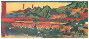 thumbnail Hasegawa Sadanobu (the second) – LICENSED QUARTERS OF NEW FUKUWARA AND NUNOBIKI WATERFALLS [from Scenes of Old Kobe: Reproduced from Woodblock Prints]