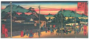 thumbnail Hasegawa Sadanobu (the second) – CELEBRATED PLACES OF KOBE; MINATOGAWA SHRINE DEDICATED TO KUSUNOKI MASASHIGE [from Scenes of Old Kobe: Reproduced from Woodblock Prints]