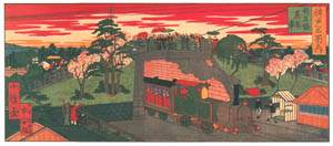thumbnail Hasegawa Sadanobu (the second) – CELEBRATED PLACES OF KOBE: STEAM LOCOMOTIVE PASSING UNDER AIOI BRIDGE [from Scenes of Old Kobe: Reproduced from Woodblock Prints]