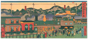 thumbnail Hasegawa Sadanobu (the second) – CELEBRATED PLACES OF KOBE: STEAM LOCOMOTIVE TRAIN [from Scenes of Old Kobe: Reproduced from Woodblock Prints]