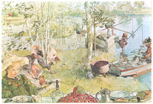 thumbnail Carl Larsson – Crayfishing [from Our Home]