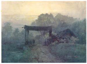 吉田博 – 農村の夜明け (近代風景画の巨匠 吉田博展-清新と叙情より)のサムネイル画像