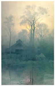 吉田博 – 霧の農家 (近代風景画の巨匠 吉田博展-清新と叙情より)のサムネイル画像
