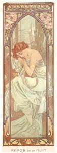 アルフォンス・ミュシャ – 一日の四つの時刻 夜のやすらぎ (アルフォンス・ミュシャ イワン・レンドル・コレクションより)のサムネイル画像