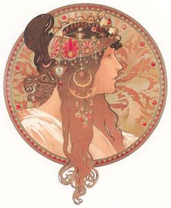 thumbnail Alphonse Mucha – TETES BYZANTINES: BRUNETTE [from Alphonse Mucha: The Ivan Lendl collection]