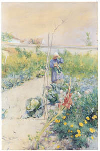 カール・ラーション – 家庭菜園で (スウェーデンの国民画家 カール・ラーション展より)のサムネイル画像