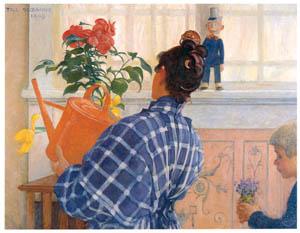 カール・ラーション – カーリンとエースビョーン (スウェーデンの国民画家 カール・ラーション展より)のサムネイル画像