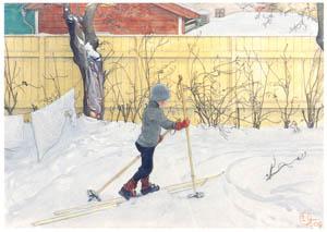 カール・ラーション – スキーをするエースビョーン (スウェーデンの国民画家 カール・ラーション展より)のサムネイル画像