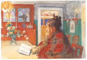 カール・ラーション – 本を読むカーリン (スウェーデンの国民画家 カール・ラーション展より)のサムネイル画像