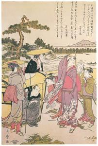 喜多川歌麿 – 三保の松原道中 [左] (浮世絵聚花 ボストン美術館3 歌麿より)のサムネイル画像