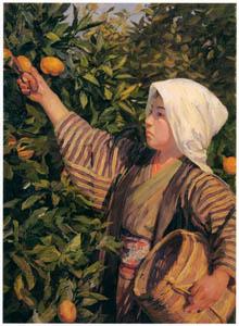 thumbnail Wada Eisaku – A Girl Picking Oranges [from Retrospective Exhibition of Wada Eisaku]