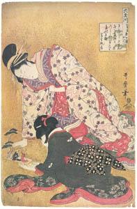 thumbnail Kitagawa Utamaro – Seyama of the Matsubaya, kamuro Iroka and Yukari, from the series Six Jewel Rivers [from Ukiyo-e shuka. Museum of Fine Arts, Boston III]