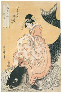 thumbnail Kitagawa Utamaro – The Immortal Qin Gao, represented by Hinazuru of the Chôjiya, kamuro Tsuruji and Tsuruno, from the series Eight Immortals in the Art of Love [from Ukiyo-e shuka. Museum of Fine Arts, Boston III]