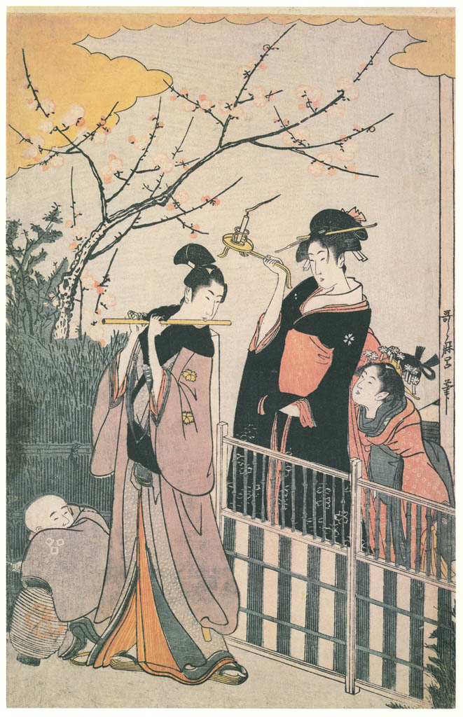 Kitagawa Utamaro – A Modern Version of the Concert of Ushiwakamaru and Jôruri-hime (Left) [from Ukiyo-e shuka. Museum of Fine Arts, Boston III]