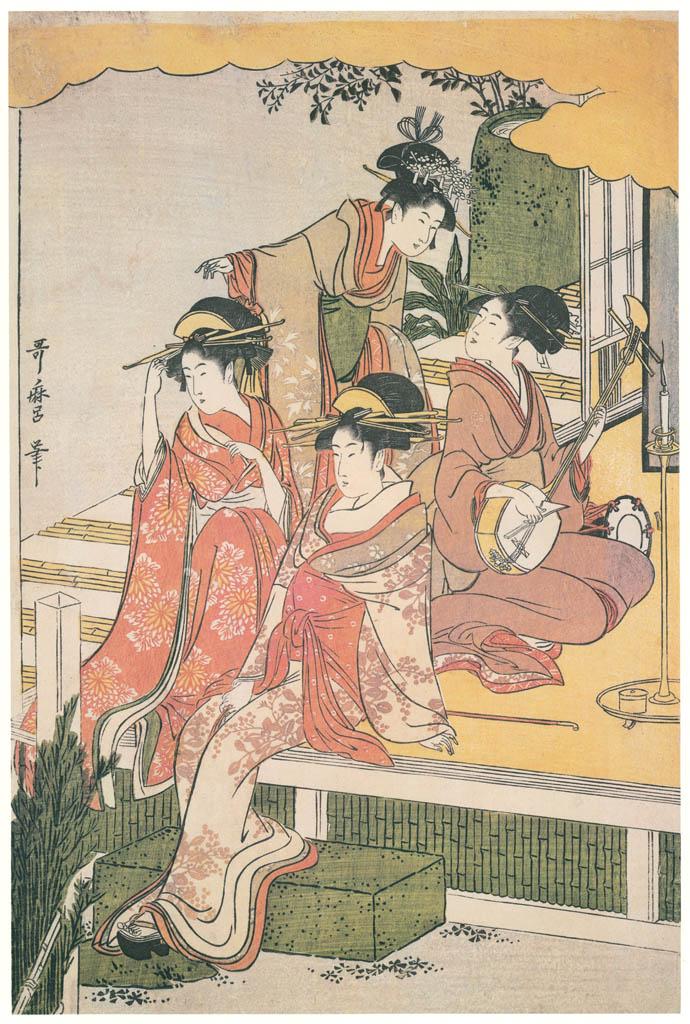 Kitagawa Utamaro – A Modern Version of the Concert of Ushiwakamaru and Jôruri-hime (Center) [from Ukiyo-e shuka. Museum of Fine Arts, Boston III]