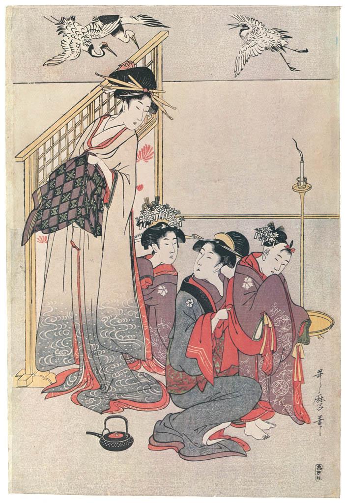 Kitagawa Utamaro – Niwaka Festival Performers in a Yoshiwara Teahouse [Right] [from Ukiyo-e shuka. Museum of Fine Arts, Boston III]