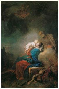 ジャン・オノレ・フラゴナール – 休息する聖家族 (フラゴナール展 図録より)のサムネイル画像