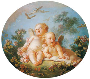 ジャン・オノレ・フラゴナール – 二人のキューピッド / 春 (フラゴナール展 図録より)のサムネイル画像