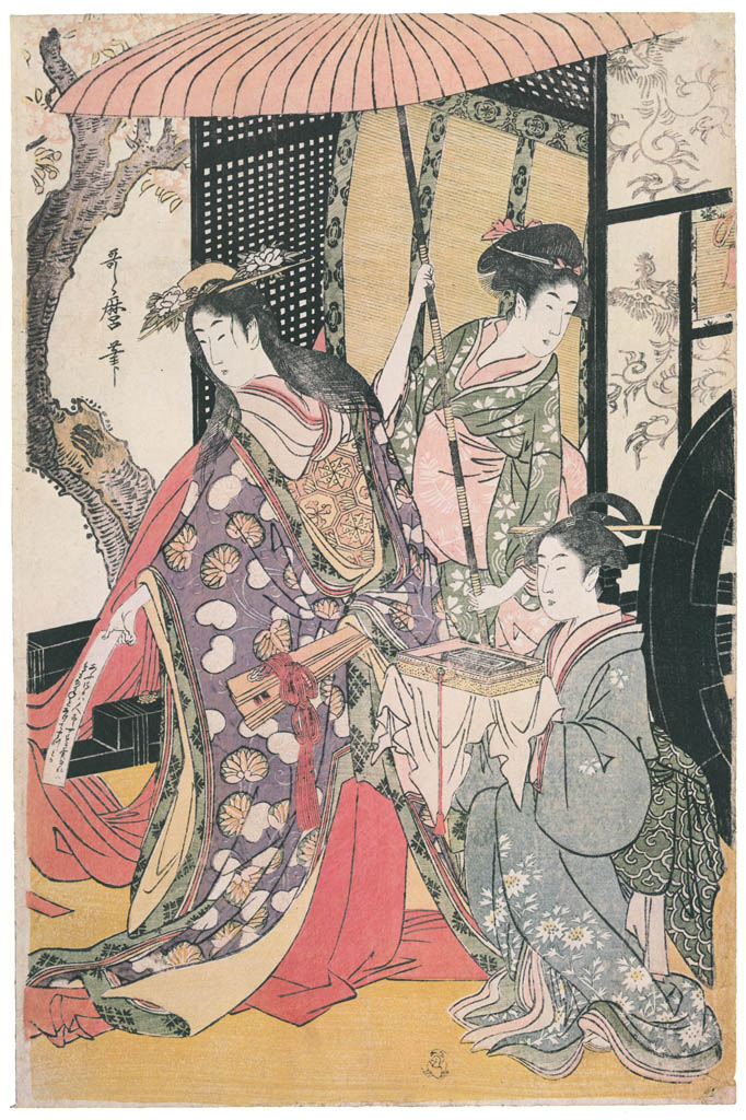 Kitagawa Utamaro – Parody of an Imperial Carriage Scene [Center] [from Ukiyo-e shuka. Museum of Fine Arts, Boston III]