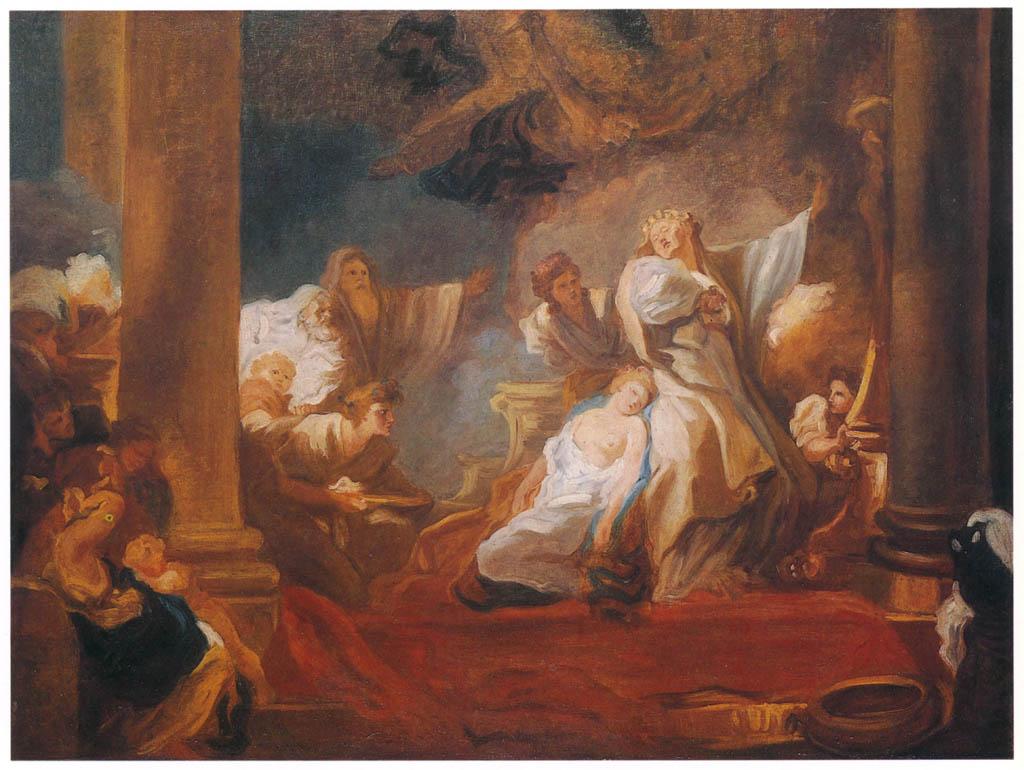 Jean-Honoré Fragonard – THE HIGH PRIEST CORESUS SACRIFICING HIMSELF TO SAVE CALLIRHOE [from Fragonard]