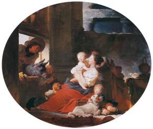 ジャン・オノレ・フラゴナール – 幸せな大家族 (フラゴナール展 図録より)のサムネイル画像