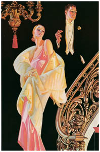 thumbnail J. C. Leyendecker – Couple Descending a Staircase (Arrow Collar advertisement. Courtesy Cluett, Peabody & Co., Inc.) [from The J. C. Leyendecker Poster Book]