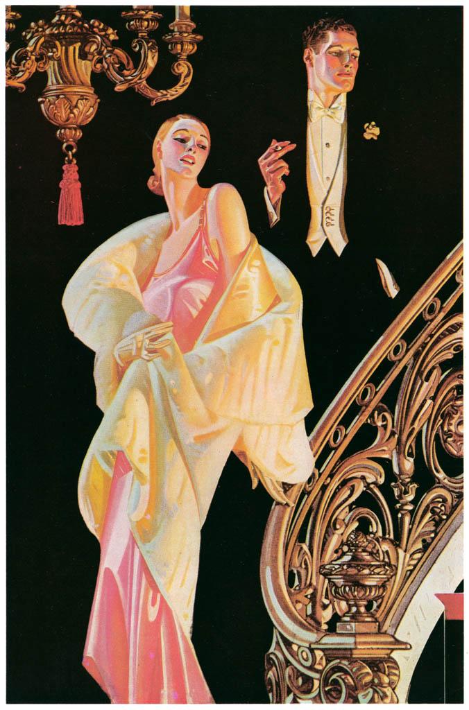 J. C. Leyendecker – Couple Descending a Staircase (Arrow Collar advertisement. Courtesy Cluett, Peabody & Co., Inc.) [from The J. C. Leyendecker Poster Book]