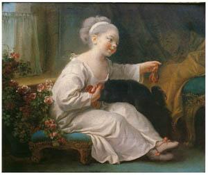 ジャン・オノレ・フラゴナール – ビスケットを持つ少女 (フラゴナール展 図録より)のサムネイル画像