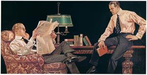 J・C・ライエンデッカー – 読書する男たち [アロー・カラーの広告] (The J. C. Leyendecker Poster Bookより)のサムネイル画像