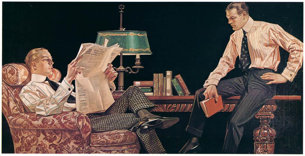 J. C. Leyendecker – Men reading (Arrow Collar advertisement. Courtesy Cluett, Peabody & Co., Inc.) [from The J. C. Leyendecker Poster Book]