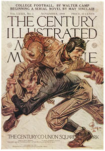 "thumbnail J. C. Leyendecker – ""College Football,"" Century Illustrated Monthly Magazine cover, November 1909 [from The J. C. Leyendecker Poster Book]"