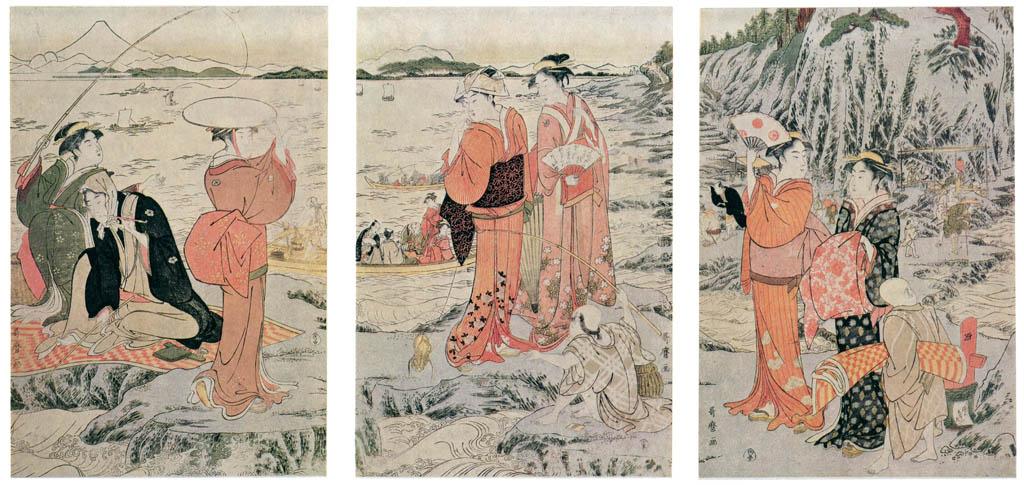 Kitagawa Utamaro – Fishing at Iwaya, Enoshima [from Ukiyo-e shuka. Museum of Fine Arts, Boston III]