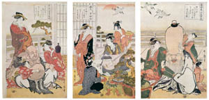 thumbnail Kitagawa Utamaro – Fukurokuju, Benten, and Hotei at a Party with Courtesans [from Ukiyo-e shuka. Museum of Fine Arts, Boston III]