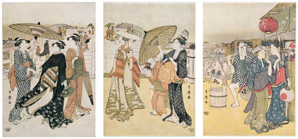 Kitagawa Utamaro – Street Scene at Ryôgoku Bridge [from Ukiyo-e shuka. Museum of Fine Arts, Boston III]