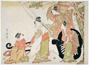 thumbnail Kitagawa Utamaro – Four Beauties in a Parody of the Carriage-pulling Scene [from Ukiyo-e shuka. Museum of Fine Arts, Boston III]